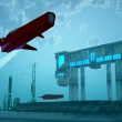 A spacecraft takes off from an airport near a city...