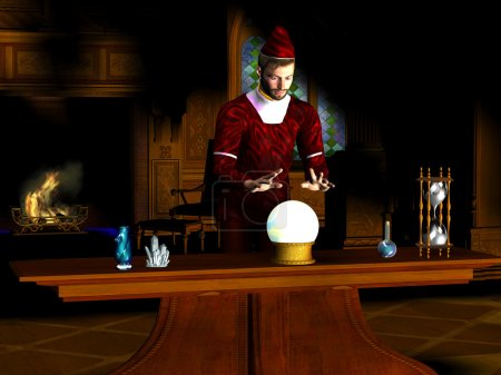 A wizard uses a crystal ball to find out what the ...