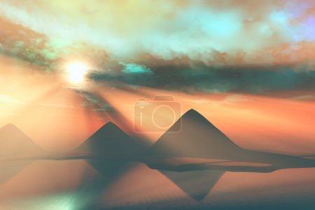 The Giza Plateau with the three Great Pyramids alo...