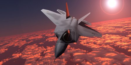 Sunset Fire F22 Fighter Jet