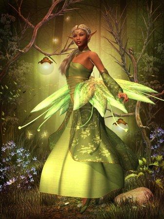 Photo pour Une fée dans une belle robe survole la forêt magique de gossamer wings. - image libre de droit