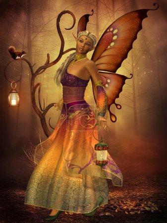 Photo pour Une fée nommée lilith porte une lanterne à faire son chemin à travers la forêt magique. - image libre de droit