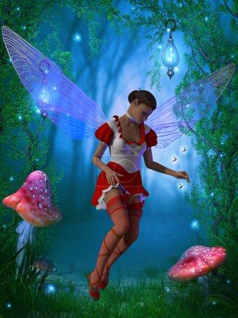 Photo pour Une fée volante essaye de capturer une mouche de lueur dans la forêt magique. - image libre de droit