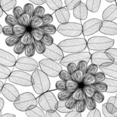 Seamless stylish black and white floral pattern