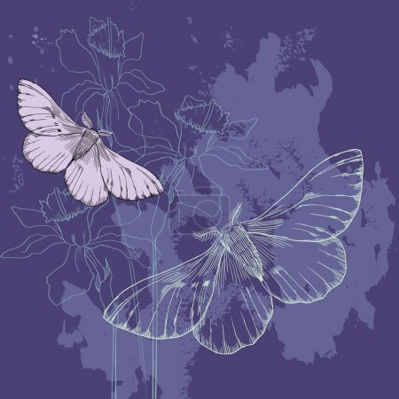 butterflies and narcissus at night