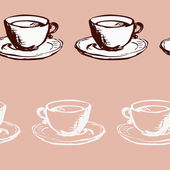 Seamless vector pattern with teacups