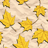 Vector seamless pattern  with maple seeds and leaves at black stones asphalt road vector illustration