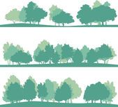 Set of different silhouettes of landscape with trees vector illustration