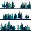 Set of different silhouettes of landscape with fir...