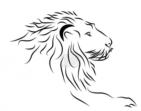 A Lion head logo in black and white.