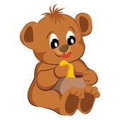Hračka medvěd na bílém pozadí. vektorové ilustrace