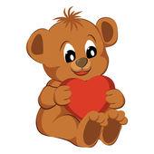 Hračka medvěd se srdcem na bílém pozadí. vektorové ilustrace
