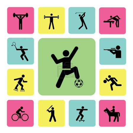 Illustration pour Jeu d'icônes sportives pour utilisation - image libre de droit