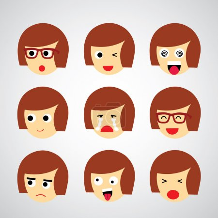 Illustration for Face emotion vector cartoon style - Royalty Free Image