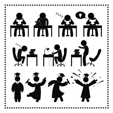 Illustration for Successful study symbol on white background - Royalty Free Image