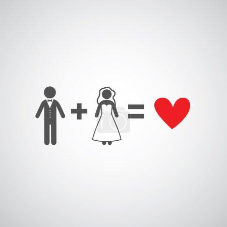 Illustration pour Symbole de mariée et marié sur fond gris - image libre de droit
