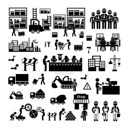 Illustration pour Icône fabricant et distributeur pour le système d'entreprise - image libre de droit