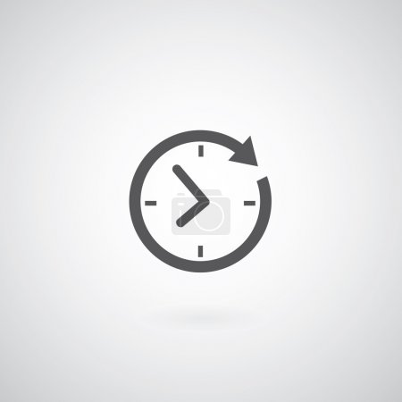 Illustration for Time icon on gray background - Royalty Free Image
