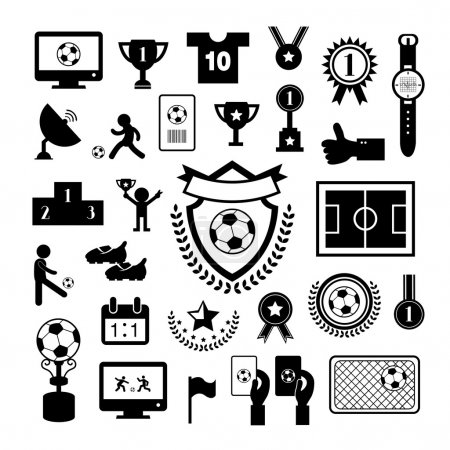 Illustration for Football  icon set on gray background - Royalty Free Image
