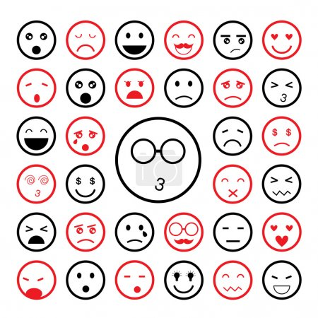 Illustration for Faces emoticon icons cartoon set - Royalty Free Image