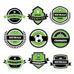 Labels set of retro football champion...