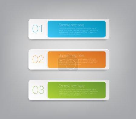 Illustration pour Trois bannières de gabarit pour la présentation de l'étape peut être utilisé pour l'infographie ou flux de travail de mise en page - image libre de droit