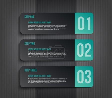 Illustration pour Papier moderne trois bannières modèle présentation étape avec fond sombre peut être utilisé pour l'infographie ou flux de travail de mise en page - image libre de droit