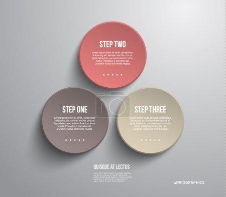 Illustration pour Trois modèle moderne de banderoles en plastique pour la présentation de l'étape peut être utilisé pour l'infographie ou flux de travail de mise en page - image libre de droit