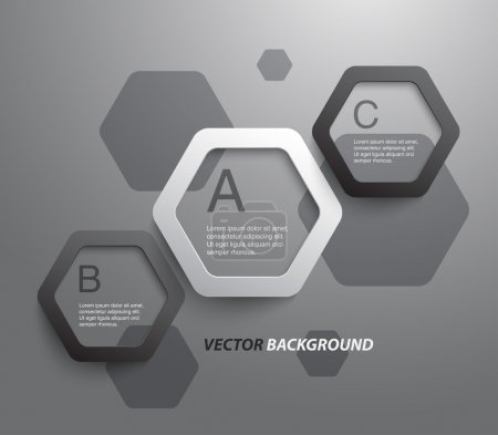 Illustration for Abstract plastic hexagons panel , banners for business design, infographics, reports, progress, number options, step presentation, websites or workflow layout. Clean and modern style - Royalty Free Image