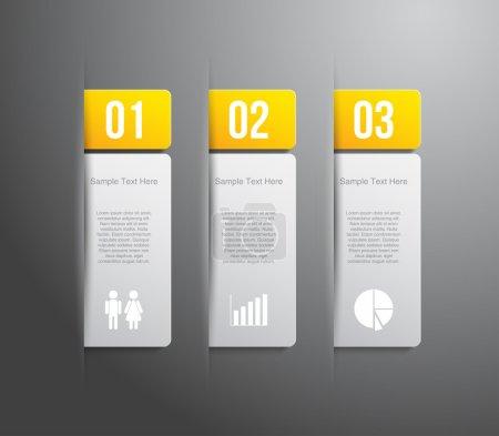 Illustration pour Ensemble de papier tags bannières avec bouton brillant cercle en plastique pour la conception d'entreprise, infographie, rapports, options nombre, progrès, disposition étape de présentation, sites Web ou flux de travail. style propre et modern - image libre de droit