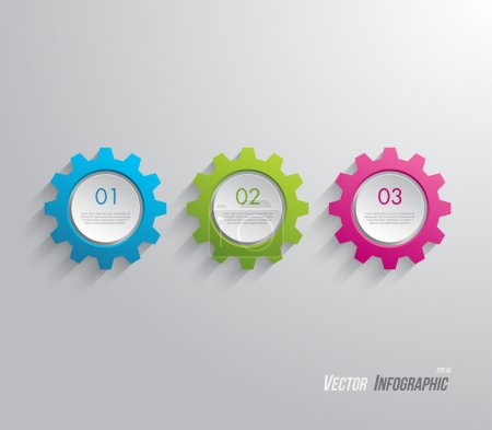 Illustration for Plastic gear , cogwheel panel, banner for business design, infographics, reports, progress, step presentation,number options, websites or workflow layout. Clean and modern style - Royalty Free Image
