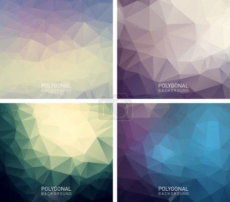 Illustration pour Ensemble de milieux polygonaux abstraits. Style géométrique moderne pour le design d'entreprise, web et d'impression - image libre de droit