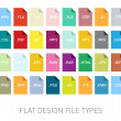 Set of  file type extension icons with flat design...