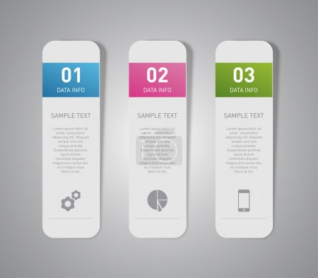 Illustration for Set of paper banners ,tags for business design, infographics, step presentation, progress, number options, websites or workflow layout. Clean and modern style - Royalty Free Image