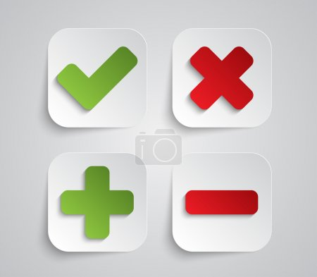 Set of paper ok and cancel buttons
