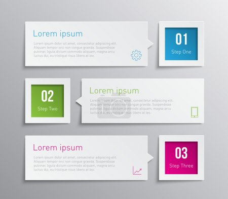 Illustration for Set of paper banners, tags for business design, infographics, step presentation, progress, number options, websites or workflow layout. Clean and modern style - Royalty Free Image