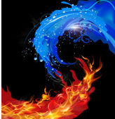 Fire and water design concept isolated on black background 10 EPS file with transparency effects and overlapping colors