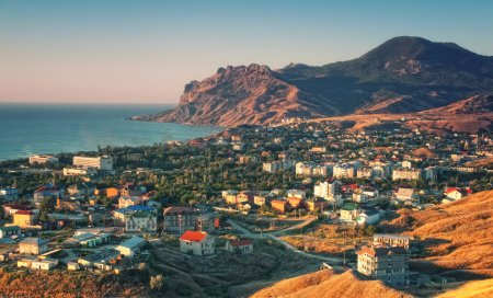 crimea resort town with mountain and sea