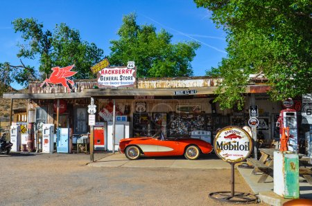 Antique General Store on Route 66 with Retro Vintage Pumps