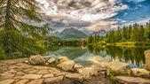 Glacial mountain lake Strbske Pleso in National Park High Tatra,