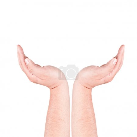 Photo for Man hands on white background - Royalty Free Image