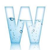 Water bubble alphabet letter. Letter W