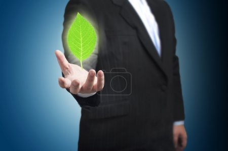 Green Leaf floating on the businessman's hand.