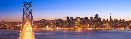 Panorama of Bay Bridge and San Francisco Financial District