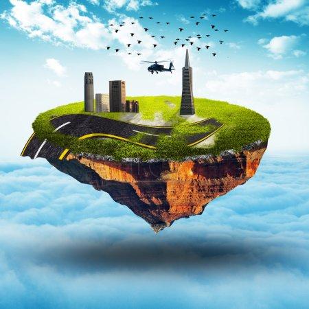 Photo pour Planète flottante avec bâtiment et route et hélicoptère Sur brouillard blanc avec fond de ciel - image libre de droit