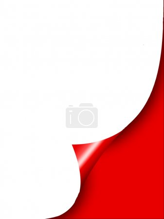 White curl paper with red background
