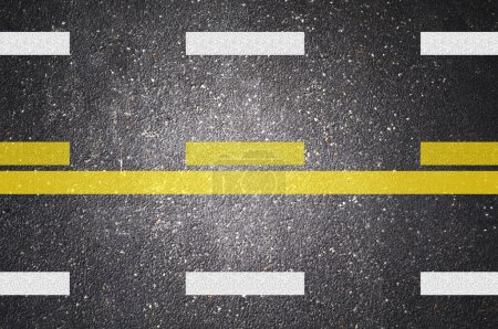 Photo for Asphalt road texture with white and yellow stripe - Royalty Free Image