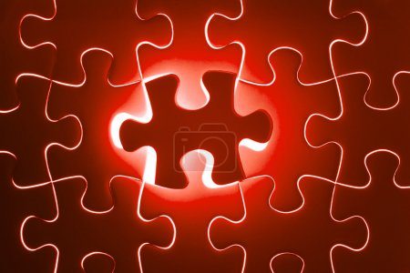 Missing red jigsaw puzzle piece