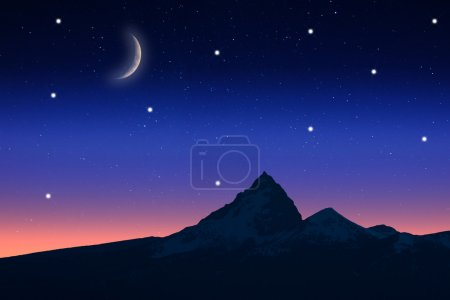 Starry night with the view of a mountain