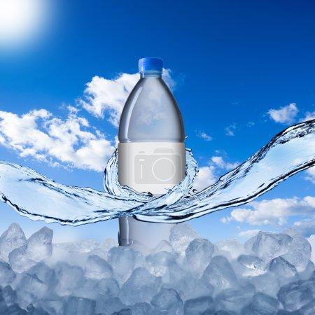 Bottle on ice cube